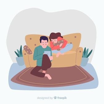 Couple dessiné à la maison à la maison