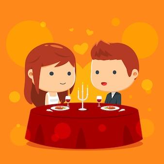 Couple dîne ensemble