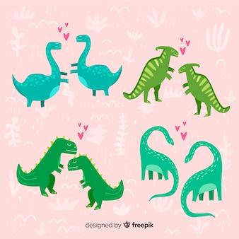 Couple de dinosaures pour la saint-valentin