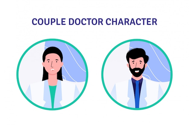 Couple docteur jeu de caractères