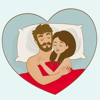 Couple, dormir ensemble, dans lit