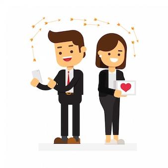 Couple drôle dans les médias sociaux