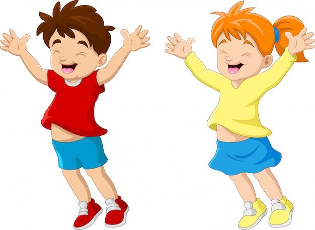 Couple drôle de dessin animé enfant heureux