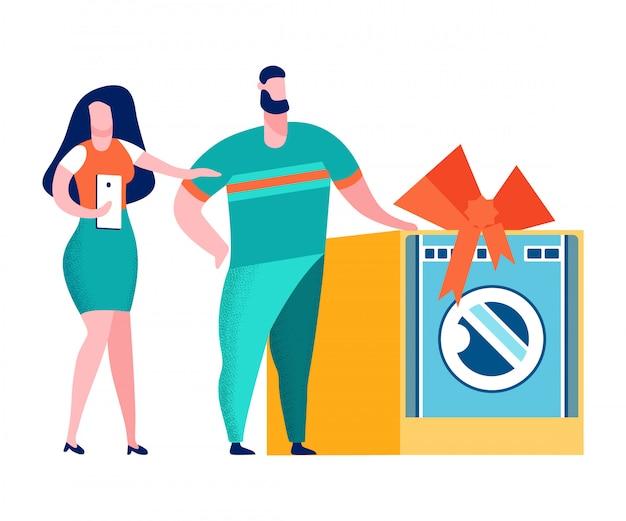 Couple, électroménager, boutique, illustration