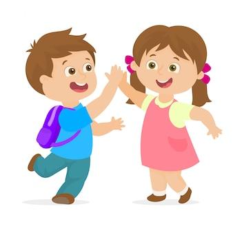 Couple d'élèves du primaire