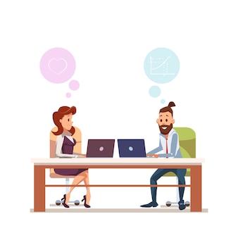 Couple employé de bureau assis au travail avec ordinateur portable
