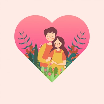 Couple enceinte au coeur
