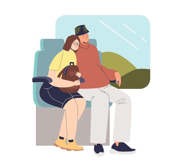 Couple endormi pendant le voyage en train illustration