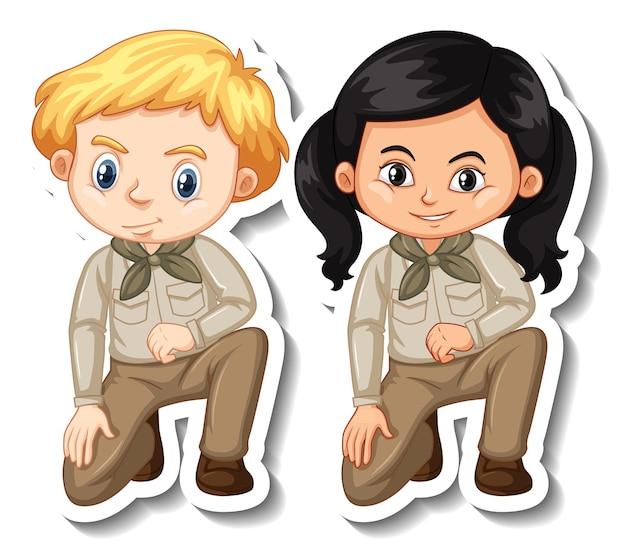 Couple d'enfants en autocollant de personnage de dessin animé de tenue de safari