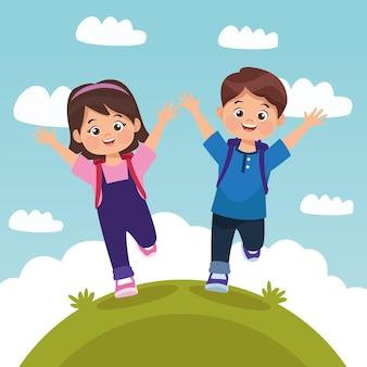 Couple d'enfants en cours d'exécution