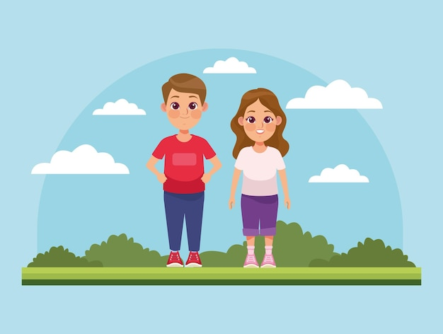 Couple d'enfants dans le parc