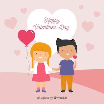 Couple enfants fond saint-valentin