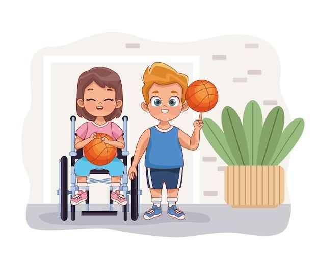 Couple d'enfants handicapés jouant