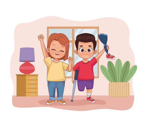 Couple d'enfants handicapés