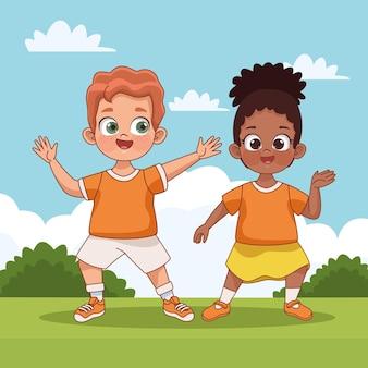 Couple d'enfants interracial