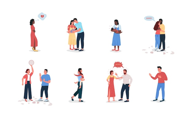 Couple avec enfants jeu de caractères détaillés à plat. jeune famille.