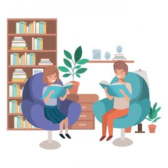 Couple d'enfants avec livre dans le salon personnage avatar