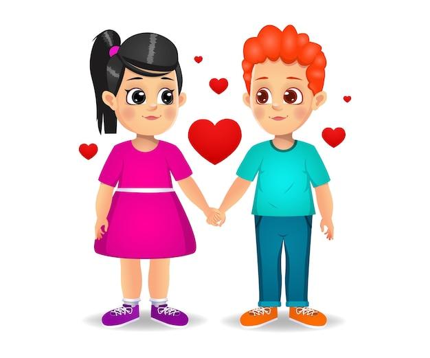 Couple d'enfants mignons amoureux