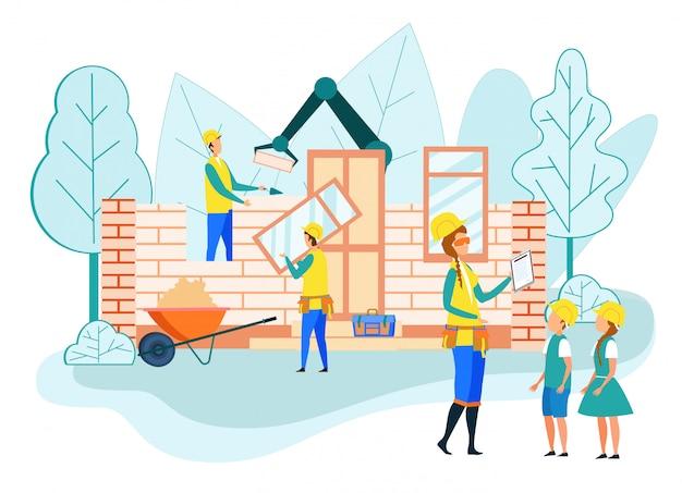 Couple, enfants, porter, casques, visite, chantier