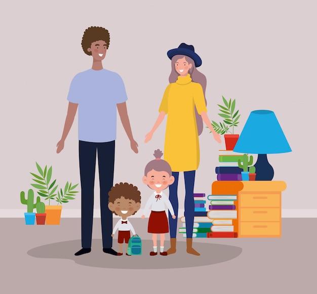 Couple enseignant avec petits étudiants enfants dans chambre
