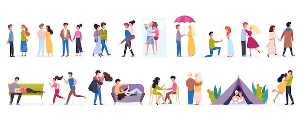 Couple sur un ensemble d'activités différentes. la femme et l'homme sont amoureux