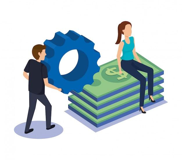 Couple, équipe, factures