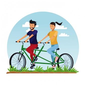 Couple, équitation, double, bicyclette, parc, dessin animé