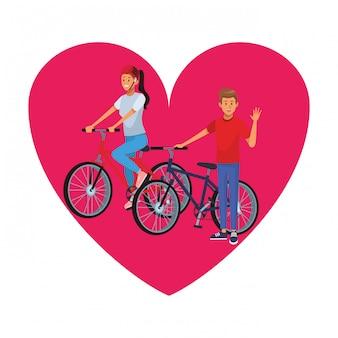 Couple d'équitation icône de coeur de bicyclette