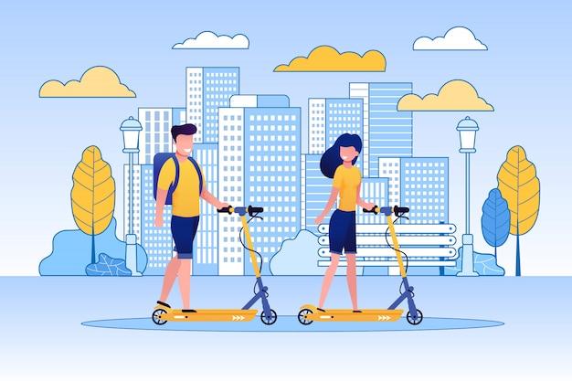 Couple, équitation, scooter, dans, parc, ou, espace vert.