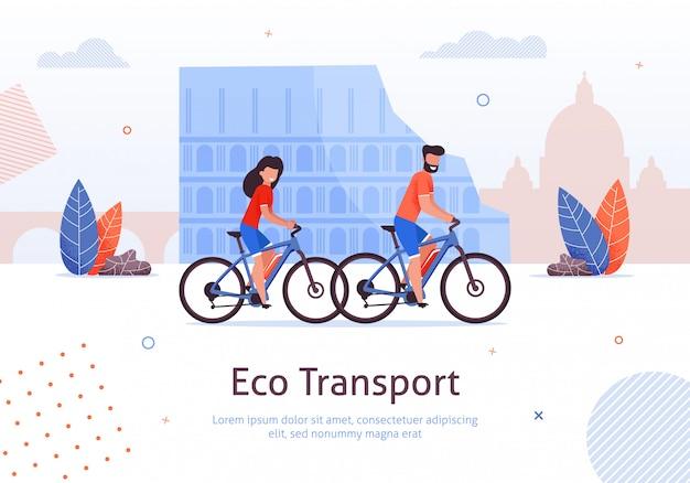 Couple, équitation, vélos, voyager, dans, italie, bannière
