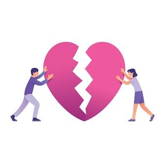 Couple essayant de réparer le coeur brisé