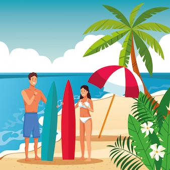 Couple d'été dans la bande dessinée de la plage