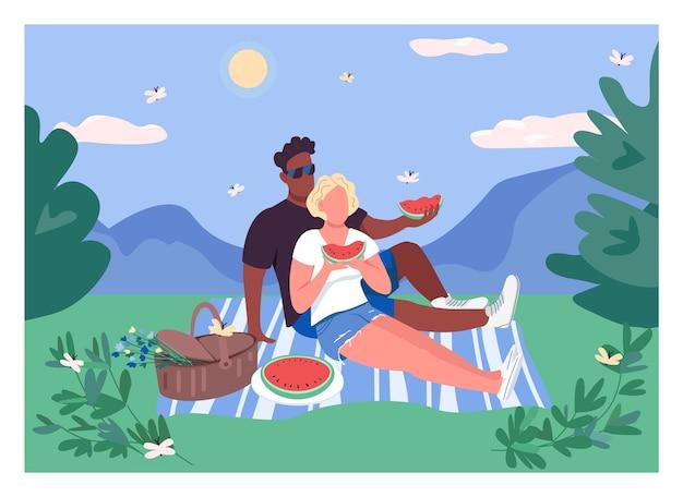 Couple d'été pique-nique couleur plate. homme africain et femme caucasienne mangent de la pastèque. escapade romantique. personnages de dessins animés 2d couple interracial avec paysage sur fond
