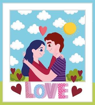 Couple étreignant l'amour