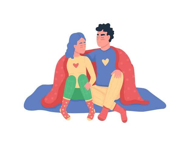 Couple, étreindre, sous, couverture, plat