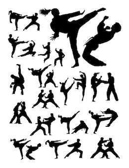 Couple, exercisme, karaté, silhouette