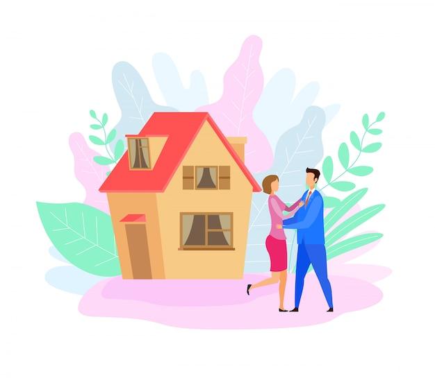 Couple à l'extérieur de la maison