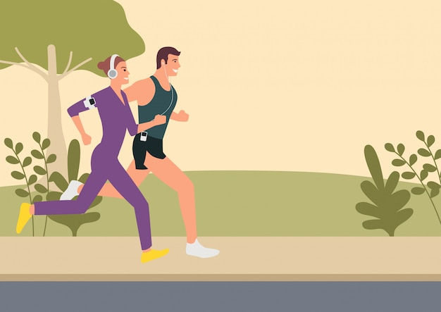 Couple, faire du jogging et courir en plein air illustration