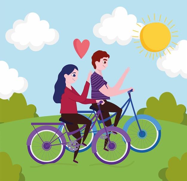 Couple faisant du vélo