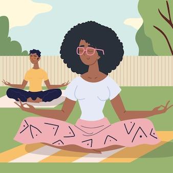 Couple faisant de la méditation