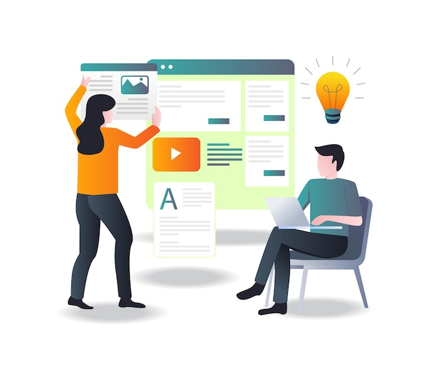 Un couple fait la mise en page de blogueur et la conception de sites web