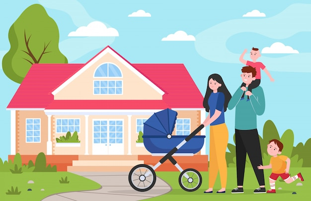 Couple de famille avec enfants et poussette à pied de maison de banlieue
