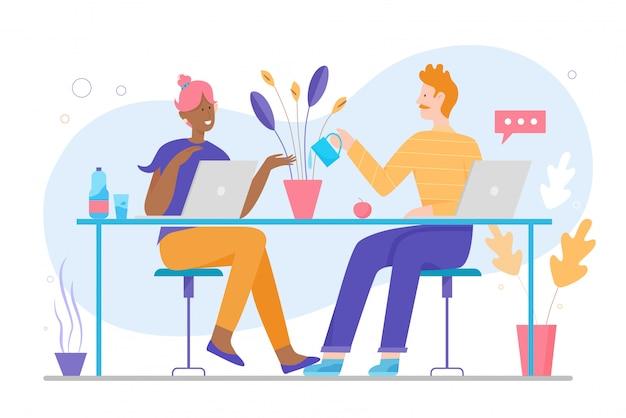 Couple de famille mignon travaille à la maison illustration de concept plat de caractère