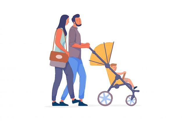 Couple famille, promenade, enfant, blanc