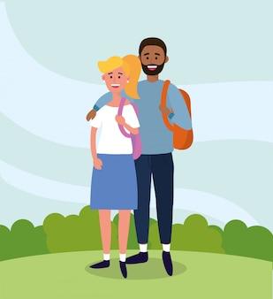 Couple femme et homme etudes avec sac a dos