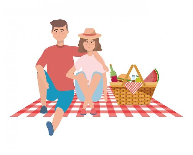 Couple de femme et homme pique-nique
