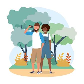 Couple femme et homme avec technologie smartphone