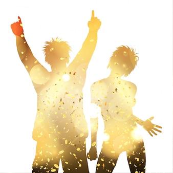 Couple de fête sur un confetti d'or