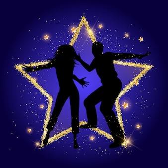 Couple de fête sur un fond d'étoile d'or scintillant
