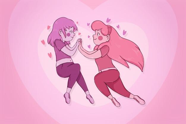 Couple de filles amoureux flottant tout en se tenant la main